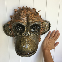 EXAMPLE can be made to order - Paper Mache Chimp Animal Head Wall Hanging (Monke