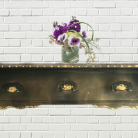 Upcycled Vintage Black and Gold Coat Rack With Shelf