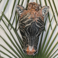 Zebra Paper Mache Animal Sculpture Head Wall Hanging Mount