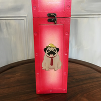Decoupaged Pug Wine Box
