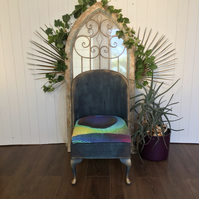 Upcycled Wicker Chair with Peacock Seat