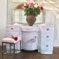 Upcycled Pink Flamingo Dressing Table with Mirror and Stool