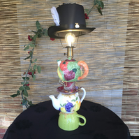 Mad Hatter Lamp, Alice in Wonderland LIght, Tea Party Lamp, Teapot Lamp, Quirky