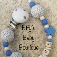 CROCHET BEAD Personalised Wooden Dummy Clip