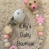 TEDDY BEAR Personalised Wooden Dummy Clip