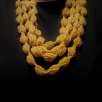 Crochet ochre berry necklace