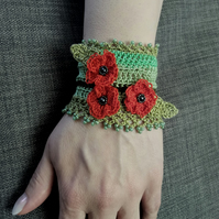Crochet bracelet cuff with poppies