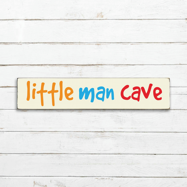 Little Man Cave Sign - 100% Handmade and Hand-Painted in England