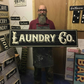 Laundry Co, Wood Sign - 100% Handmade and Hand-Painted in England.