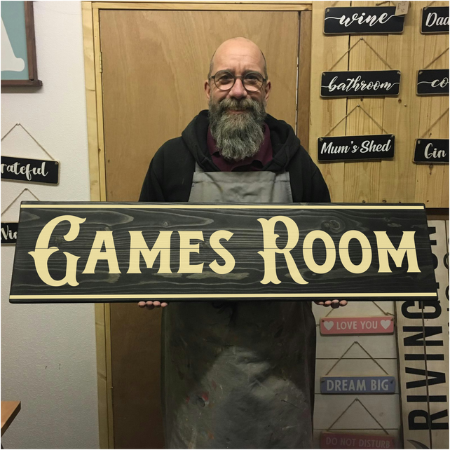 Games Room Sign - 100% Handmade and Hand-Painted in England