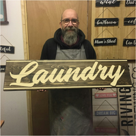Laundry Sign - 100% Handmade and Hand-Painted in England