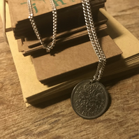 Queen Elizabeth II Antique Sixpence Coin Necklace