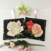 LAVENDER SACHETS BAGS ROSES FLORAL FABRIC...SET A