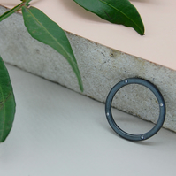 Recycled Sustainable Oxidised Sterling Silver White Stone Eternity Ring, Stackin