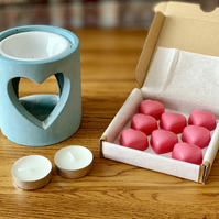 Blue Concrete Industrial Style Heart Cut-Out Oil Burner Gift Set