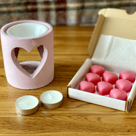 Pink Concrete Industrial Style Heart Cut-Out Oil Burner Gift Set
