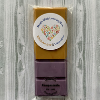 Handmade Large Black Amber & Lavender Scented Snap Bar