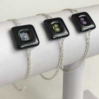 Black Agate Sterling Silver Bracelet with Swarovski, Peridot or Amethyst