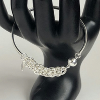 Sterling Silver Chainmaille Magnetic Clasp Bangle
