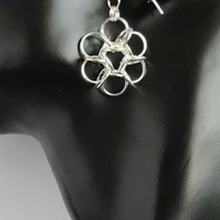 Sterling Silver Flower Chainmaille Earrings
