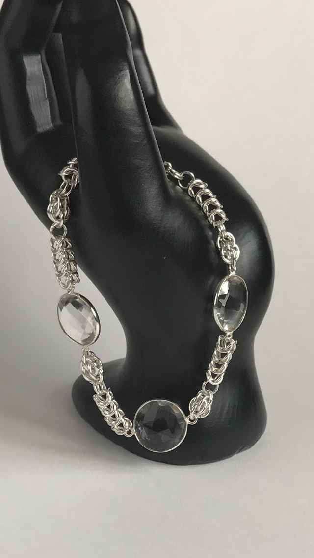 Sterling Silver Clear Quartz Chainmaille Bracelet