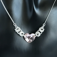 Swarovski Heart Sterling Silver Chainmaille Necklace