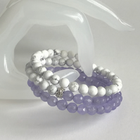 Lilac Agate and Shell Pearl Wrap bracelet