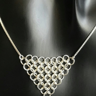 Sterling Silver Chainmaille Graduated Necklace