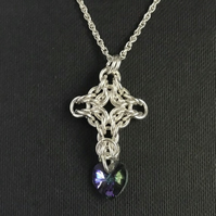 Sterling Silver Swarovski Chainmaille Pendant with a chain