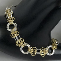 Two Tone Sterling Silver Chainmaille Bracelet