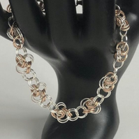 Two Tone Rose Gold Chainmaille Bracelet