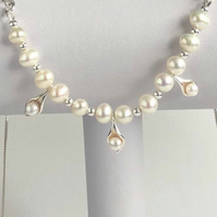 Sterling Silver Freshwater Cultured Pearl Necklace
