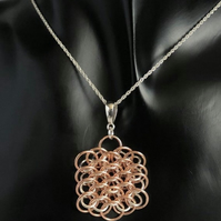 Two Tone Rose Gold Chainmaille Pendant