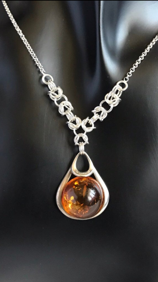 Baltic Cognac Amber Chainmaille Necklace