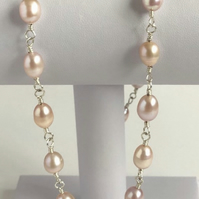 Rosary Linked Sterling Silver Pearl Necklace