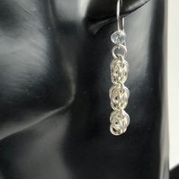 Sterling Silver Topaz Chainmaille Earrings