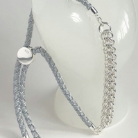 Unisex Sterling Silver Woven Slider Chainmaille Bracelet