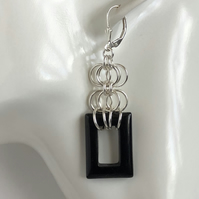 Black Agate Chainmaille Earrings