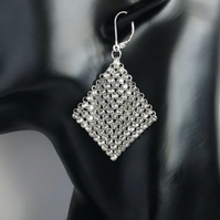 Swarovski Crystal Mesh Sterling Silver Earrings