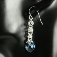 Blue Swarovski Heart Sterling Silver Earrings