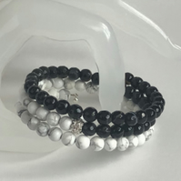 Black Agate and Shell Pearl Wrap bracelet