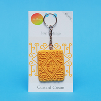 Custard Cream Handmade Keyring