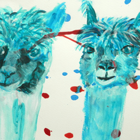 Turquoise Alpaca Wall Art - Farm Animal giclee print - blue llama wall decor