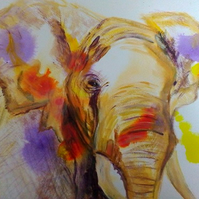 Orange elephant print with abstract background - elephant artwork