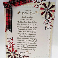 Scottish Wedding Card Tartan Card with Verse,Keepsake Card FREE P&P to UK