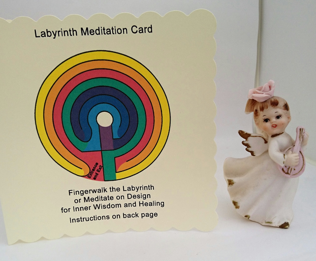 Labyrinth Card, Gift, Portable Finger Labyrinth, Angel Altar, Gifts under 5,