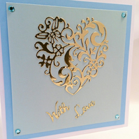 Gold Heart Card,With Love Card,Anniversary,Birthday,All Occasions FREE P&P to UK
