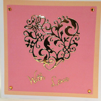 With Love, Mother's Day Gold Heart Card, Anniversary,Birthday,  FREE P&P to UK