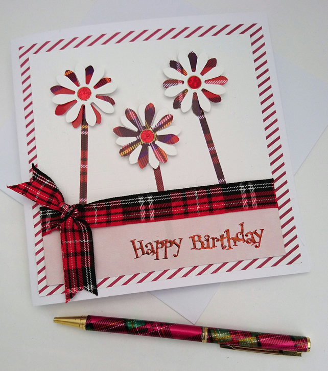 Scottish Happy Birthday CardTartanHandmade M