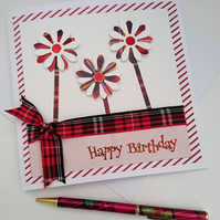 Happy Birthday Card, Tartan, Handmade, Quirky, Male,Female, All ages.